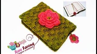 كروشيه جراب للمصحف بغرزه المروحه | خيط وابره | crochet cover for Holy Quran
