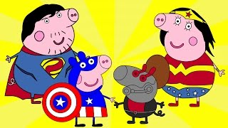 getlinkyoutube.com-Coloring Pages | Peppa Pig Story | Captain America | Свинка Пеппа | Kids Animation Collection #13