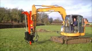 getlinkyoutube.com-p220+ Excavator Post driver  5ton upwards Working on Case Excavator