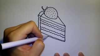 getlinkyoutube.com-วาดการ์ตูนกันเถอะ สอนวาดรูป การ์ตูนขนมเค้ก สตรอว์เบอร์รี่ ชอร์ทเค้ก