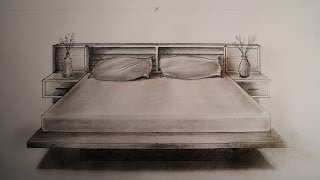 getlinkyoutube.com-How to draw - One point perspective - bed, furniture