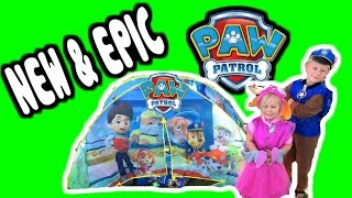 getlinkyoutube.com-WORLDS BIGGEST Paw Patrol Tent with Paw Patrol Surprise Toys & New Paw Patrol Ionix Jr Sets