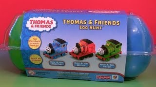 getlinkyoutube.com-Thomas & Friends Egg Hunt Toy Surprise James Percy Thomas Rev & Go Unboxing by Funtoys
