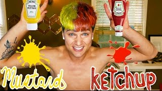 KETCHUP & MUSTARD SPLIT HAIR DYE!! *SUPER RAD*