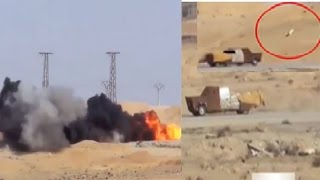 Kurds in Rojava destroy a ISIS suicide bomber's truck filled with explosives coming at them