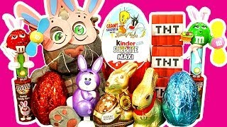 getlinkyoutube.com-Kinder Surprise Maxi Egg Easter Bunny Eggsplosion Toy Madness Play-Doh TNT Unboxing