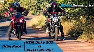 getlinkyoutube.com-Pulsar RS 200 vs KTM Duke 200 - Drag Race | MotorBeam