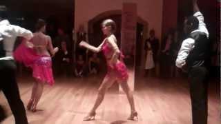 getlinkyoutube.com-Sexy Cha Cha Dance Red Dress Group Dance Manhattan Arthur Murray