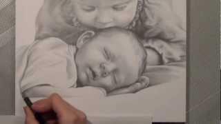getlinkyoutube.com-Kinder - Bleistiftportrait. Realistisch Zeichnen. speed painting.Portrait drawing. Painting.