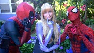 getlinkyoutube.com-SPIDER-MAN & DEADPOOL meet SPIDER-GWEN - Real Life Superhero Movie - LOVE TRIANGLE