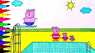 getlinkyoutube.com-Peppa Pig BEST Coloring Book Pages Kids Fun Art Activities Peppa Pig Swimming Pool Kids Videos