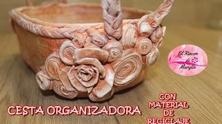 getlinkyoutube.com-CESTA ORGANIZADORA CON MATERIAL DE RECICLAJE.
