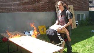 getlinkyoutube.com-Flaming Table Match - Bruiser & Exile VS Innovator {Tag Team Tournament} CHW Backyard Wrestling