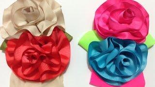 getlinkyoutube.com-Como hacer flores grandes con listón barrotado  VIDEO No. 278