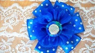 getlinkyoutube.com-Цветок из лент мастер класс бант из ленты заколка подарок