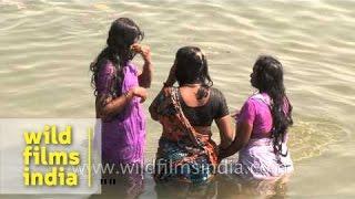 getlinkyoutube.com-Women bathing at Varanasi Ghat