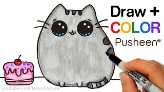 getlinkyoutube.com-How to Draw + Color Pusheen Cat step by step Easy Cute Cartoon Cat