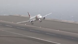 getlinkyoutube.com-STORMY Winds 45Kts Extreme Landings Crazy Go Arounds || Madeira