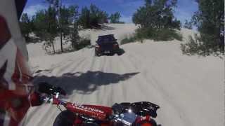 getlinkyoutube.com-Yamaha Banshee Follows Subaru Impreza Silver Lake Sand Dunes 8/18/12