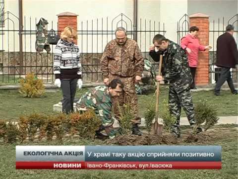 Івано-Франківські екологи посадили дерева й кущі на території храму