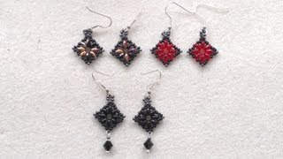 getlinkyoutube.com-Beading4perfectionists: Superduo diamond / square shaped earrings beading tutorial
