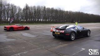 getlinkyoutube.com-DRAG RACE: LaFerrari vs Bugatti Veyron - Vmax Stealth