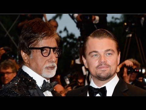 Cannes Film Festival 2013 Amitabh Bachchan, Leonardo DiCaprio and Tobey Maguire pose for the cameras