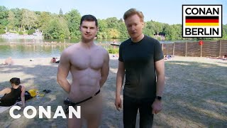 getlinkyoutube.com-Conan & Flula Borg Visit A Nude Beach  - CONAN on TBS
