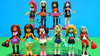 getlinkyoutube.com-NEW Monster High Mega Bloks Minifigures Collection Deboxing & Toy Doll Review