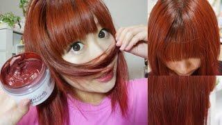 getlinkyoutube.com-How to dye your hair=RED= カラートリートメントで赤に染めてみた