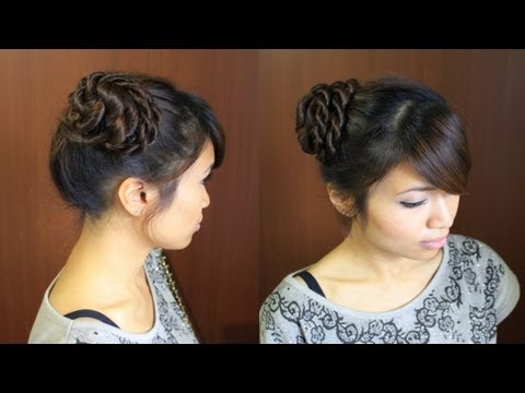 Elegant Rope Braid Bun Updo Hairstyle for Long Hair Tutorial