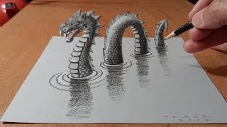 getlinkyoutube.com-3D Drawing Loch Ness Monster, Trick Art Dragon on Paper