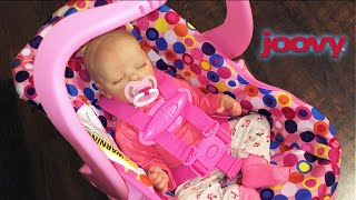 getlinkyoutube.com-Pink Joovy Toy Car seat Unboxing with Reborn Baby Doll Twin A Emily