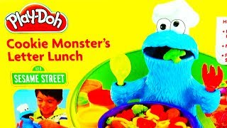 getlinkyoutube.com-Play Doh Cookie Monster Letter Lunch Learning ABCs Alphabet Playdough Sesame Street 123 Play-Doh Toy
