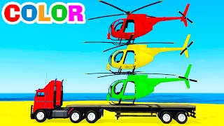 COLOR HELICOPTER on Truck & Spiderman Cars Cartoon for Kids & Colors for Children w Nursery Rhymes