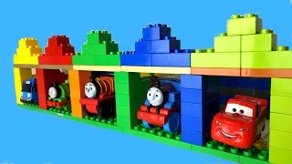 getlinkyoutube.com-Thomas and Friends Toy Trains Percy James Disney Cars McQueen Tayo the Little Bus in Garage