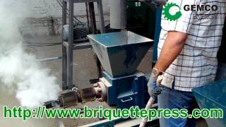 getlinkyoutube.com-how to make biomass wood briquettes by a fuel sawdust briquette press machine