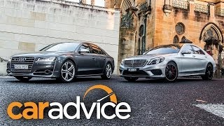 getlinkyoutube.com-Mercedes Benz S63 AMG v Audi S8: Drag Race
