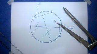 Achando o centro de um círculo com o compasso