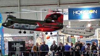 getlinkyoutube.com-2X HUGE RC VARIO CHINOOK CH-47 SCALE MODEL HELICOPTER INDOOR FLIGHT / Intermodellbau Dortmund 2016