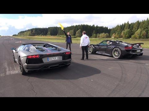Porsche 918 Spyder vs Lamborghini Aventador Pirelli Edition