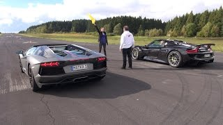 getlinkyoutube.com-Porsche 918 Spyder vs Lamborghini Aventador Pirelli Edition - Launch Control!