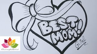 getlinkyoutube.com-Draw Best Mom On  A Heart, Puffy Ribbon Bow & Dancing Sashes!