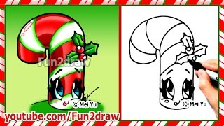 getlinkyoutube.com-How to Draw Christmas Stuff Things - Cute Candy Cane + Holly - Art Top Drawing Videos Fun2draw