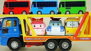 getlinkyoutube.com-Robocar Poli Tayo bus on Pororo Carrier car toy