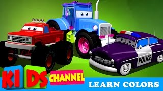 Learn Colors With Cars and Trucks | Street Vehicles In Cargo | Cars Colors Videos For Kids