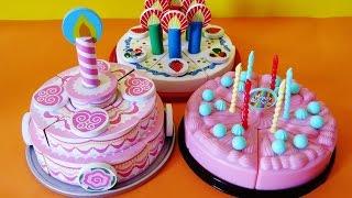 getlinkyoutube.com-Toy velcro cutting birthday cakes strawberry cream cheesecake educational toys for kids