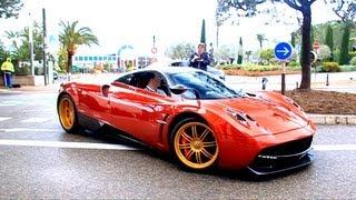 getlinkyoutube.com-Red Pagani Huayra in Monaco