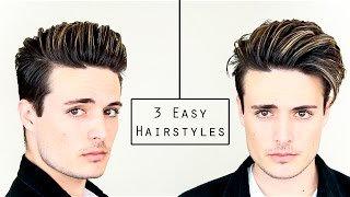 getlinkyoutube.com-3 Easy Mens Hairstyles | No Heat Hair Tutorial - Healthy Hair 2016