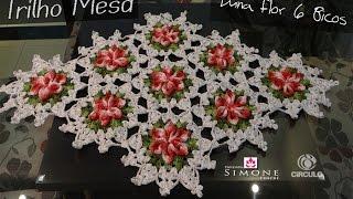 getlinkyoutube.com-Passo a passo Trilho/Caminho Mesa Croche Flor 6 Bicos - Professora Simone